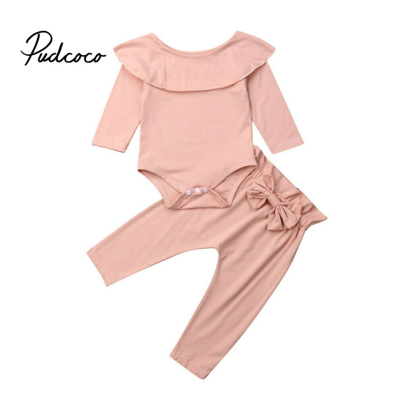 0 1 2 Years Toddler Kid Baby Girl Boys Winter Clothes Sets Ruffles Decor Bodysuit + Pants 2Pcs Outfit Tracksuit Pink Black Color