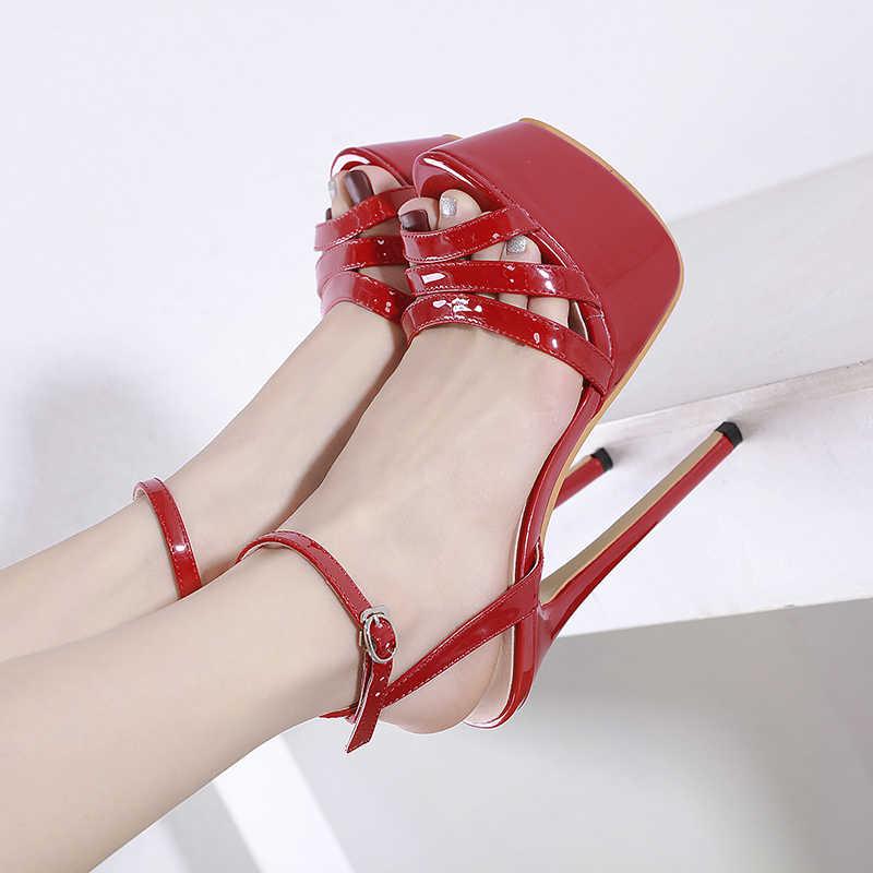 NIUFUNI Sexy Peep Toe damskie sandały gladiatorki klamra platforma ultra wysokie obcasy 16cm szpilki buty weselne dla kobiet