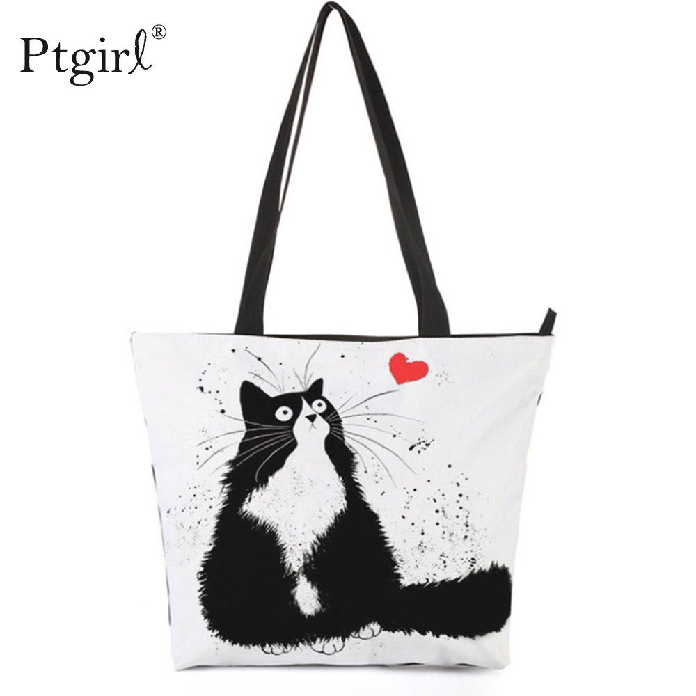 Customized Cute Cat Printing Women Handbag Ptgirl Linen Tote Bags With Print Logo Casual Traveling Beach Bags Handbag Tote 2020