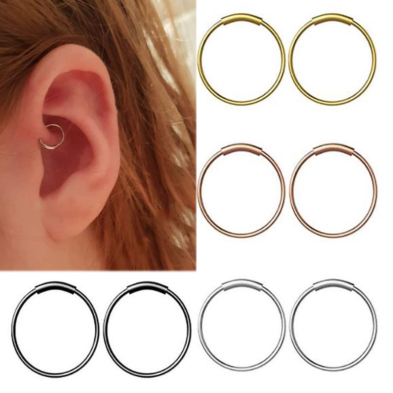 Nose Stud Steel Hinged Seamless Piercing Nose Ring Hoop Lip Ear Ring,Blue,10Mm