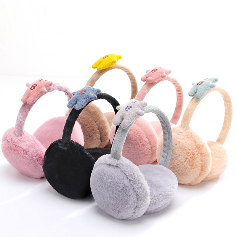 Cute Winter Earmuffs For Children Plush Fur Earmuff Ear Muffs For Kids Girls Boys Baby Adult Plush Ear Cover Ear Muff Ear Warmer