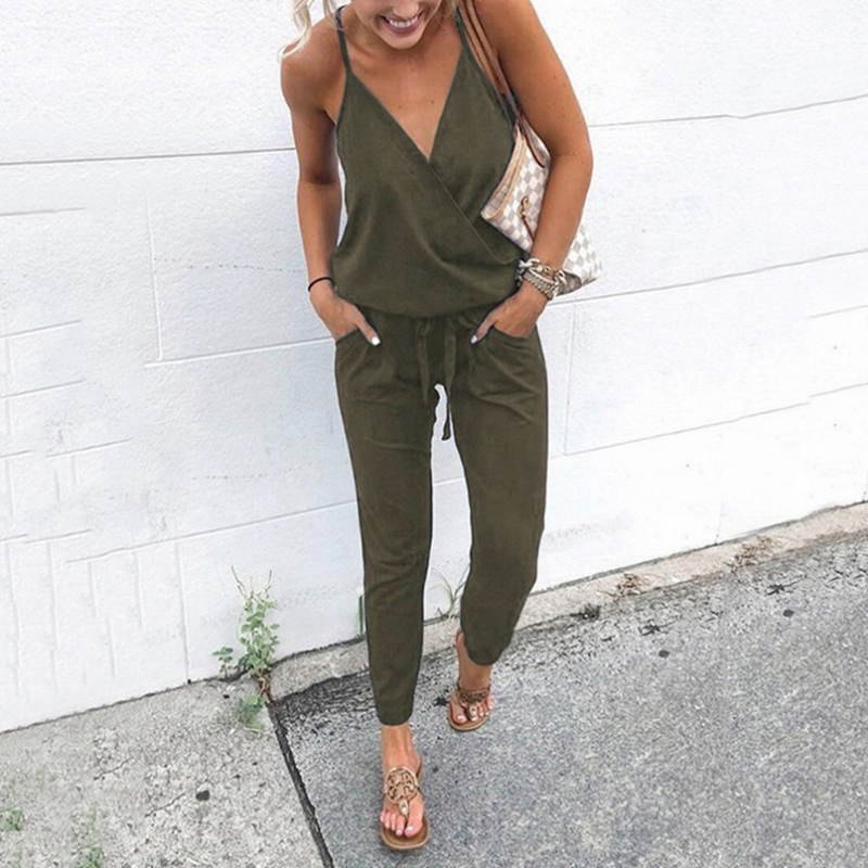 2020 Summer Women Holiday Casual Sleeveless Jumpsuits Fashion Ladies Solid Color Bodysuit Wide Leg Loose Long Pants Trousers