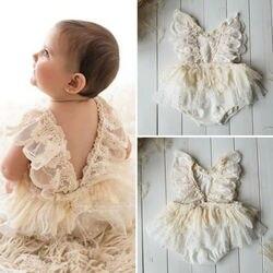 Macacão tutu vestido, princesa menina bebê recém-nascido macacão de renda floral body tutu vestido roupas 0-24m
