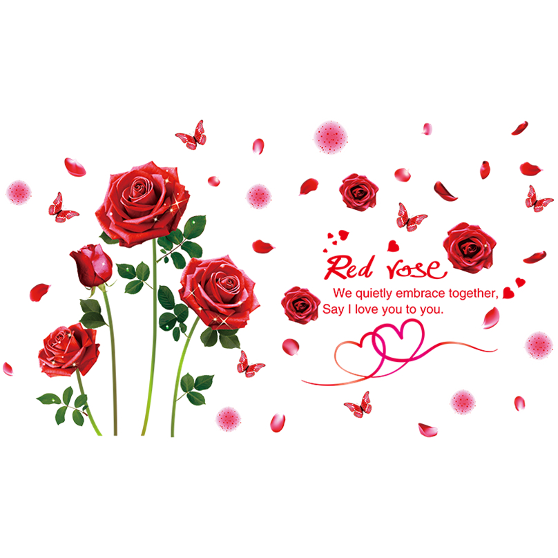 shijuekongjian Cartoon Girl Wall Stickers Vinyl DIY Rose Flowers Wall Decals for Kids Bedroom Living Room Decoration in Wall Stickers from Home Garden
