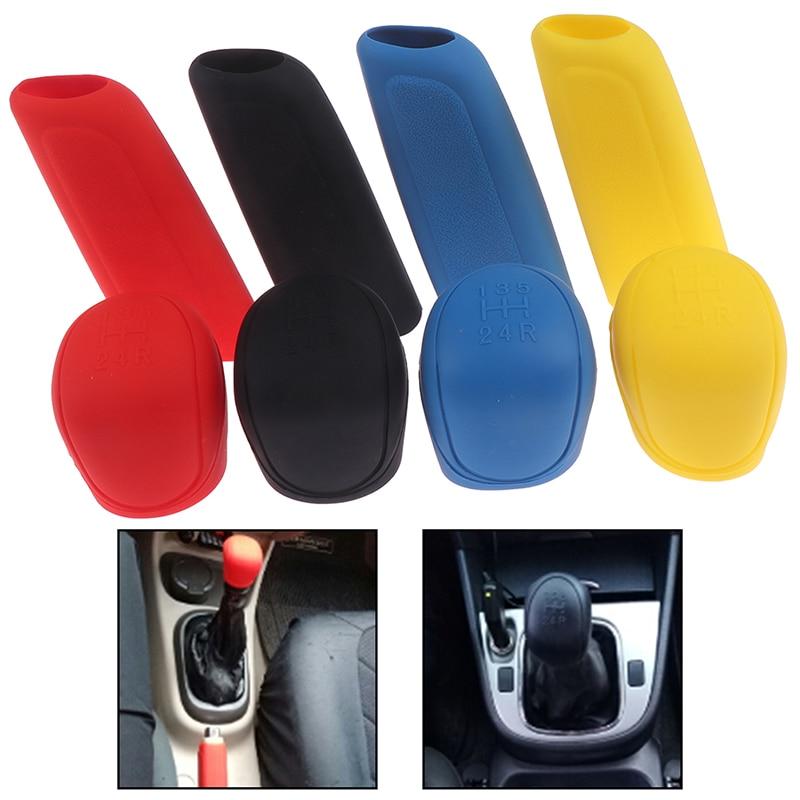 2Pcs Universal Manual Gear Shift Collars Car Silicone Gear Head Shift Knob Cover Handbrake Grip Car Hand Brake Covers Case
