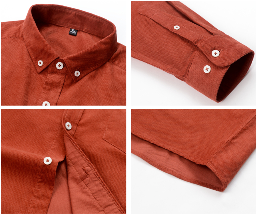 H1e6fa688602c4106a73c931f2a20549dL Casual Mens Corduroy Shirt Pure Cotton Long Sleeve Brown Thick Winter XXL Regular Fit New Model Male Button Down Shirts
