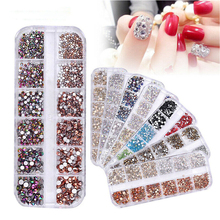 1440pcs Mixed Crystal Shiny Diamond Glitter Rhinestones 3D Nail Art Decoration Supplies Accessories Jewelry
