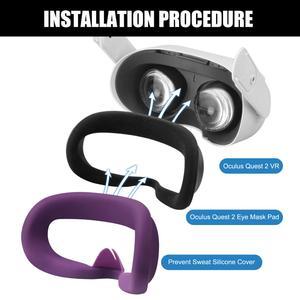 Image 3 - قناع عين من السيليكون ، مضاد للعرق ، مضاد للتسرب ، للجنسين ، مضاد للضوء ، وسادة لنظارات Oculus Quest 2 VR ، ملحق