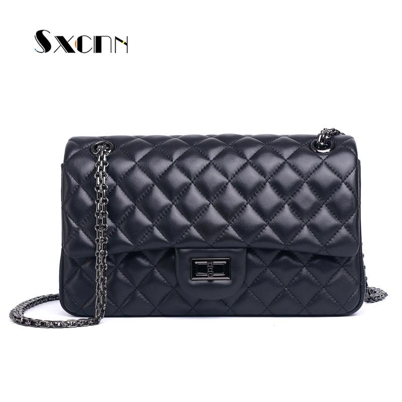 100% sacs à main de luxe en cuir véritable femmes sacs de créateur de mode femme en peau de mouton sacs à bandoulière de haute qualité chaîne grand sac à main