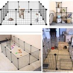 Corralito plegable para mascotas cerca de hierro Casa de perrera ejercicio entrenamiento cachorro gatito espacio perros suministros conejos jaula de conejillo de indias