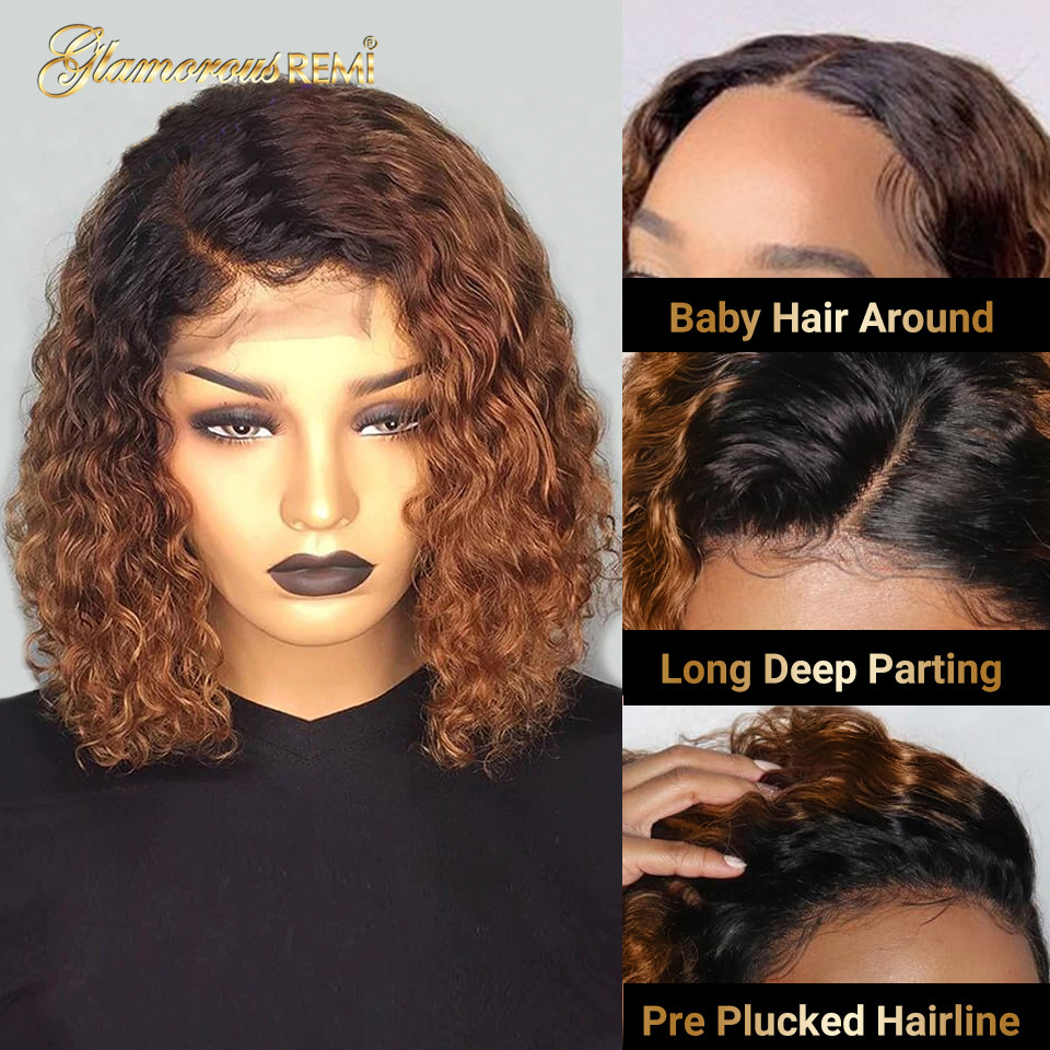 Ombre Curly Short Bob Wigs 1b/27  Curly Lace Front  Wigs With Baby Hair 4x4 Closure Wig  Density 150 3