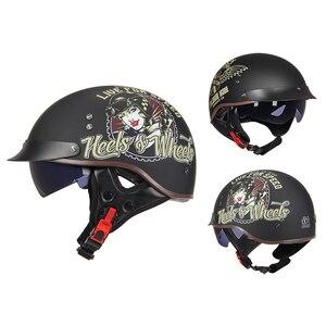 Image 2 - Винтажный мотоциклетный шлем GXT в стиле ретро, мотоциклетный шлем с открытым лицом для скутера, мотоциклетного гоночного шлема с сертификацией DOT