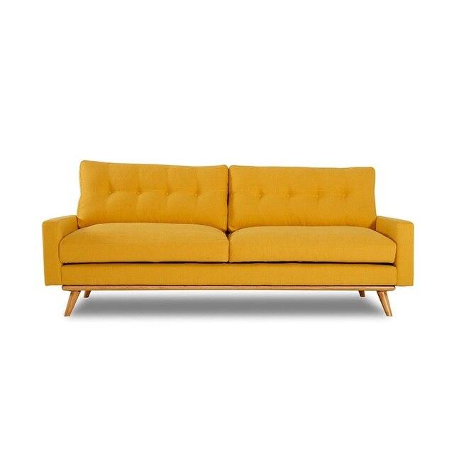 U-BEST Living Room 3 Seat Cinema Velvet Fabric Sofa Set 4
