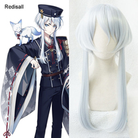 Touken Ranbu Online Hakusan Yoshimitsu Wig Silver Cosplay Long Straight Pigtails Synthetic Hair for Adult Halloween Role Play