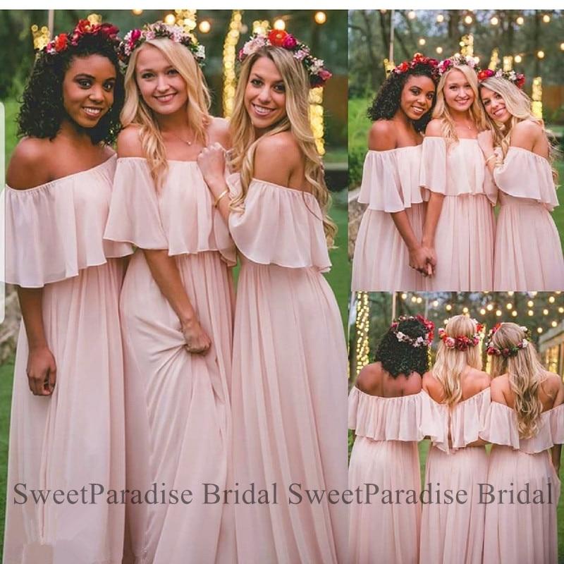 Bohemia Light Pink Chiffon Bridesmaid Dresses For Women Long Off Shoulder Vestido Madrinha Wedding Guest Dress Maid Of Honor