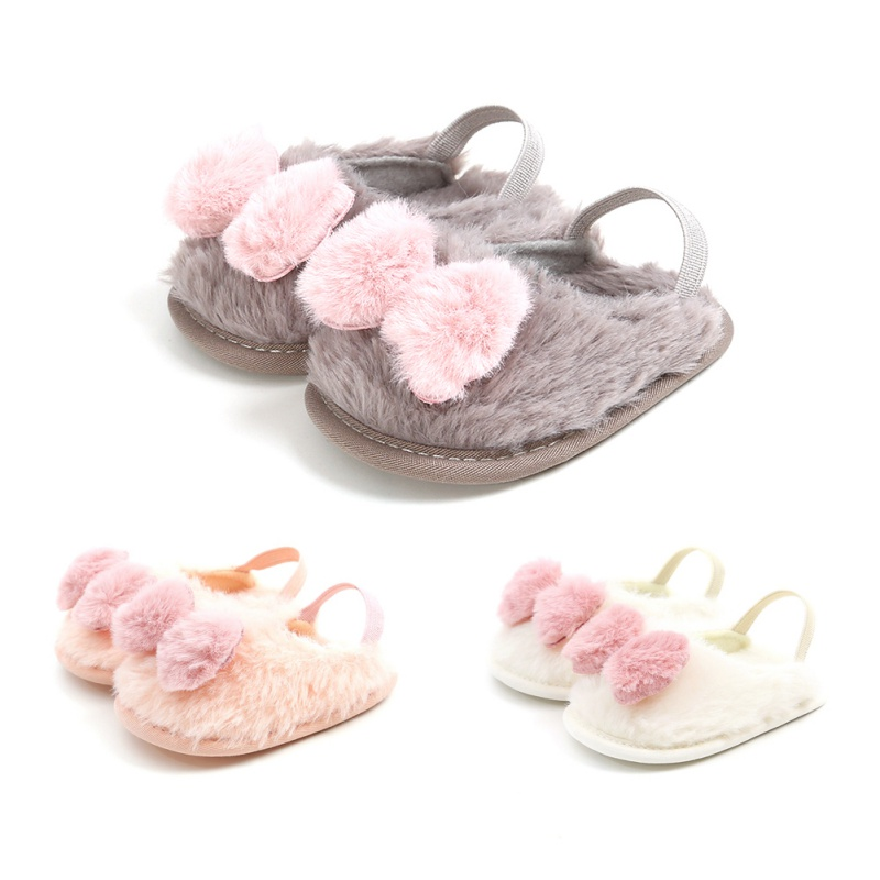 Toddler Infant Baby First Walkers Solid Flock Soft Casual Shoes Toddler Girl Crib Shoes With Cute Bow 0-18M