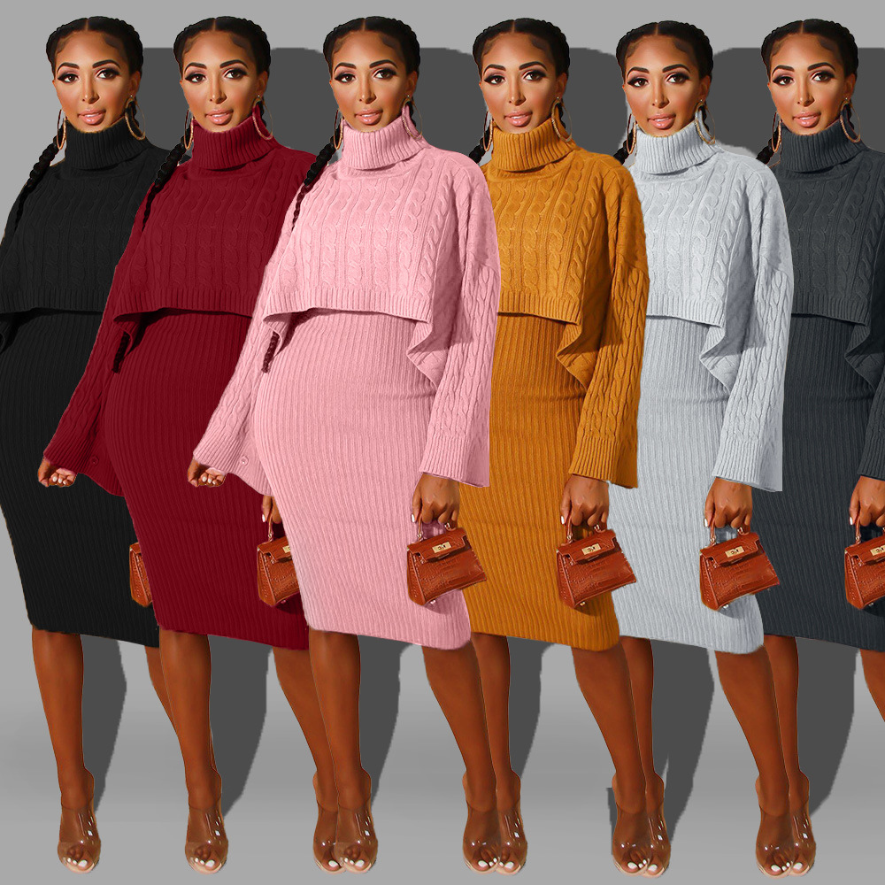2019 New Autumn Winter Sweater Women's Set Tracksuits Turtleneck Long Sleeve Sweater + Mid Calf Dress Bodycon Outfits Dresses A6