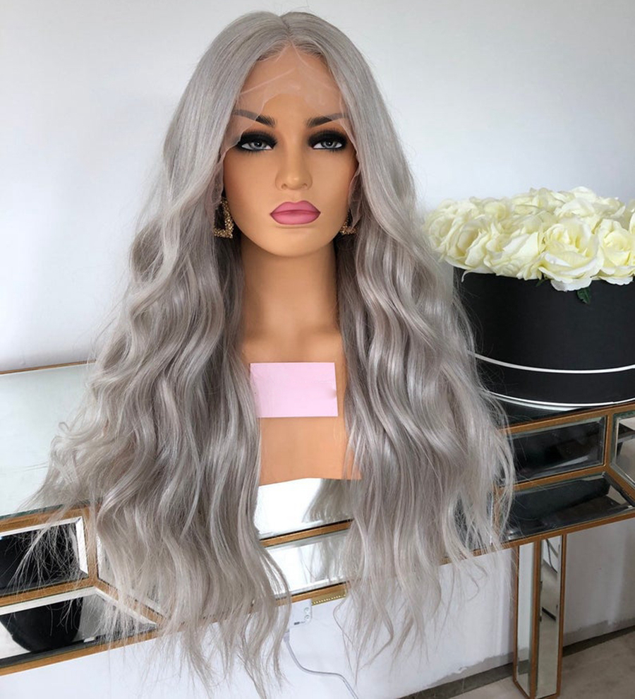 Ash Grey Natural Wave Human Hair Full Lace Wigs Transparent Lace Brazilian Remy Glueless Wig With Baby Hair