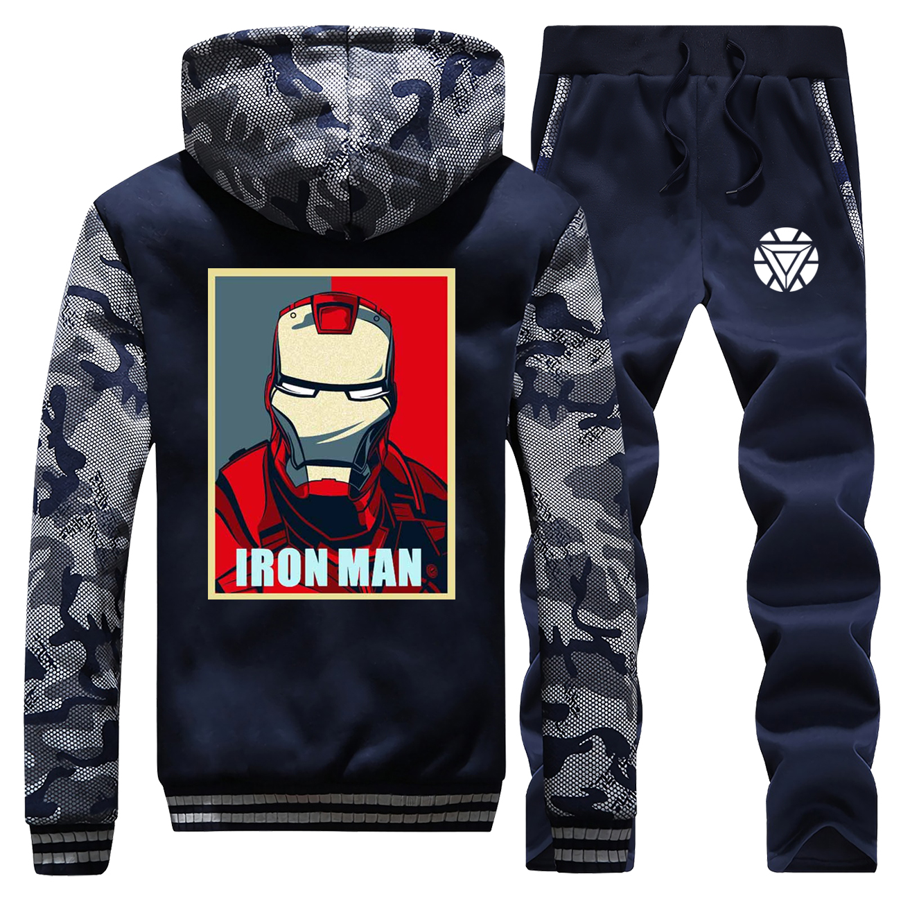 Men Hooded Streetwear Iron Man Winter The Avengers Camouflage Raglan Coat Suit Casual Jacket Thick Zipper+Sweatpants 2 Piece Set