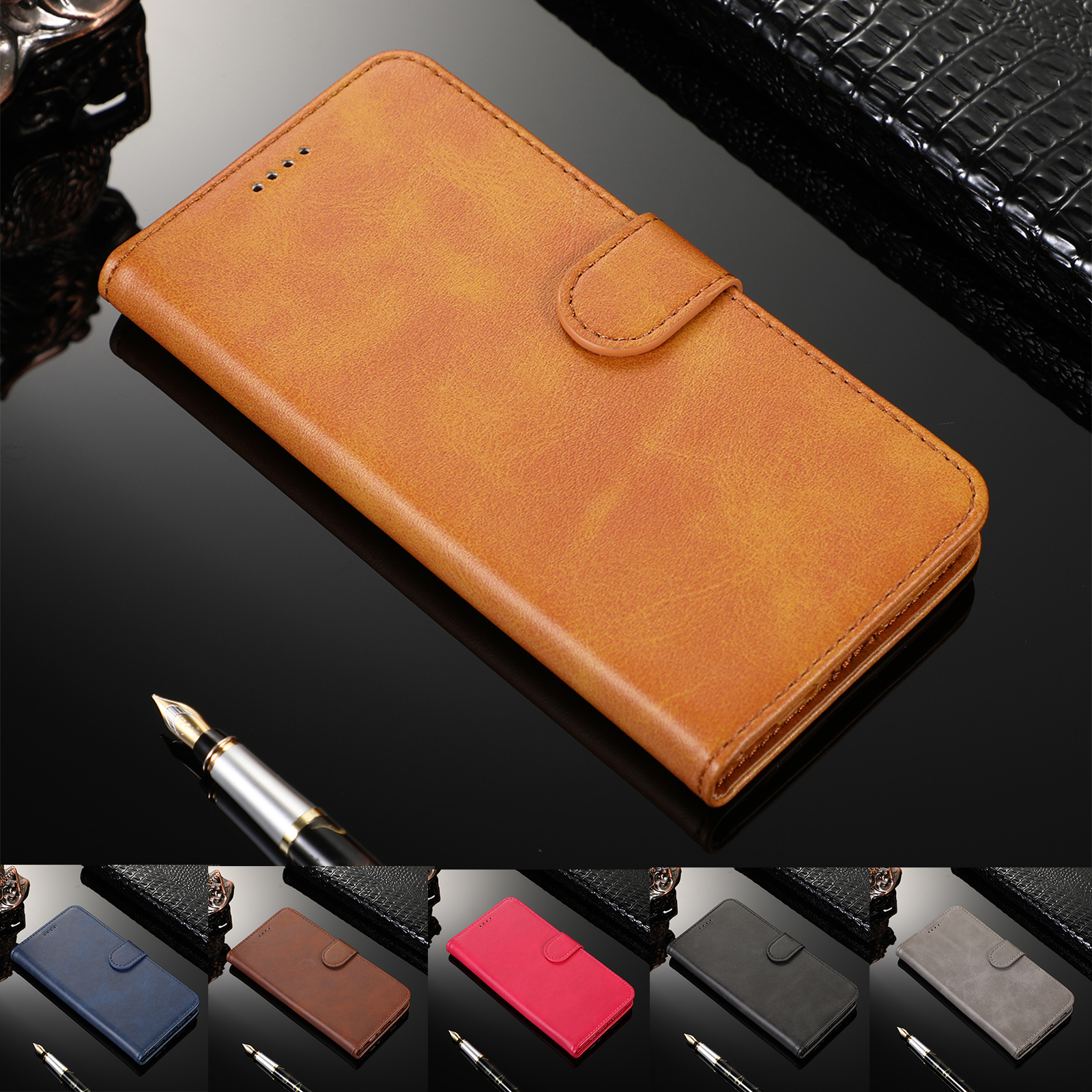 Luxury <font><b>Leather</b></font> <font><b>Case</b></font> For <font><b>Samsung</b></font> A50 A70 <font><b>A40</b></font> A20 A6 Plus A7 2018 <font><b>Flip</b></font> Wallet Funda For <font><b>Samsung</b></font> J4 J6 Plus J330 J530 J730 Coque image