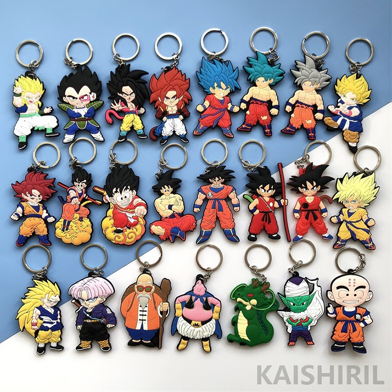 Fashion Dragon Ball Z Keychain PVC Anime Super Saiyan Goku Key Chain Cartoon Action Toy Figures Model Trinket Key Holder Ring