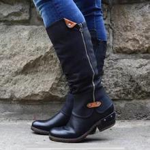 2019 Winter PU Leather Knee High Boots Women Snow Boots Autumn High Heels Side Zipper Female Shoes Black Red Green Large Size 2019 new 5cm high heels women knee high boots black purple green ladies winter dress party shoes large size 41 42 43