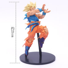 Dragon Ball Super Saiyan Goku com Base onda de Choque ângulo PVC Anime Action Figure Toy Collectible Modelo Dragon Ball Z como presente(China)