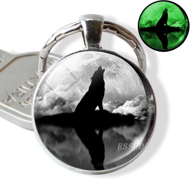 זוהר מפתח טבעות שחור חתול עיני מפתח שרשרת קבושון זכוכית תמונה Keychain Keyring זוהר בחושך