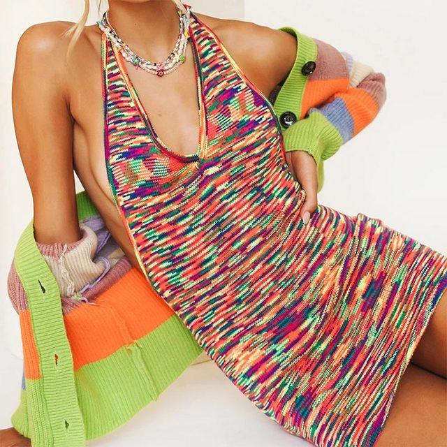 2021 Fashion Knitted Summer Dress Women Sleeveless Hot Sexy Backless Halter Mini Dresses Bodycon Chic Beach Dress 5