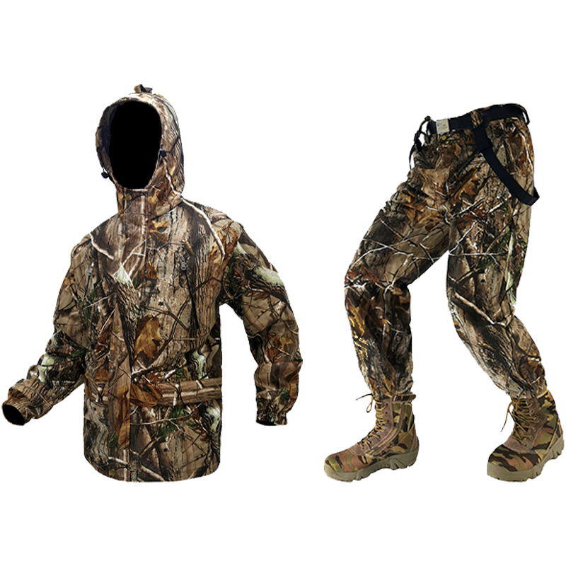 New Bionic Waterproof Camouflage Hunting Loose Clothing Breathable Ghillie Suit Jacket +Bib Pants+Cap For Outdoor Sports