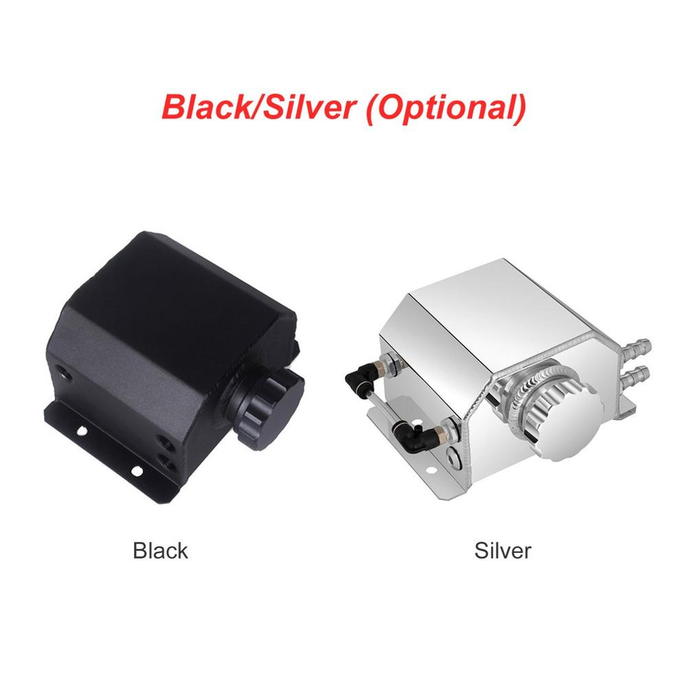 For Universal 1L Aluminium Alloy Engine Oil Fuel Catch Can Square Breather Tank Bottle Coolant Radiator Overflow Tank