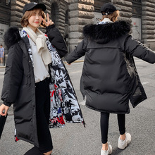QIHUANG 2019 Winter Double-sided Wear Thicken Women Down Coat Jacket Fashion Big Fur Collar Hooded Warm Women Parkas Coat недорого