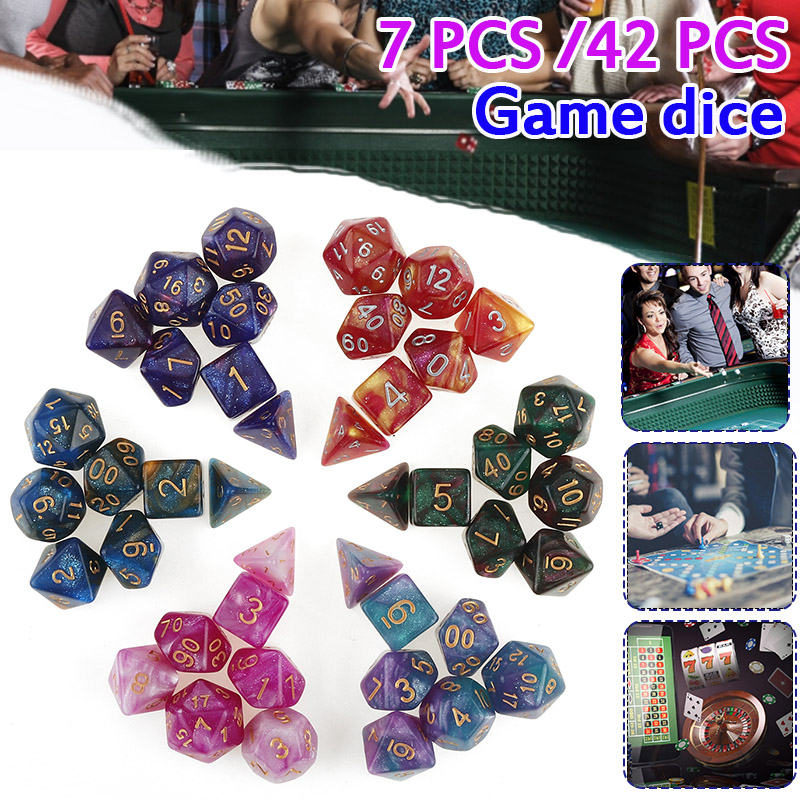 42Pcs Dice Set For Polyhedral DnD Mixed Color Dice RPG Dungeons And Dragons Role Playing Game Board Game Dice Set + Storage Bag