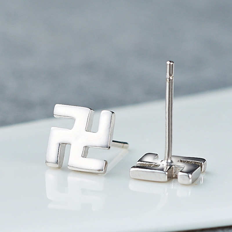 Korean-style Cool Fashion Man Ornament Cross-Swastika Swastika Fo Yin Ear Stud Men's Silver Plated Copper Men Ear Stud