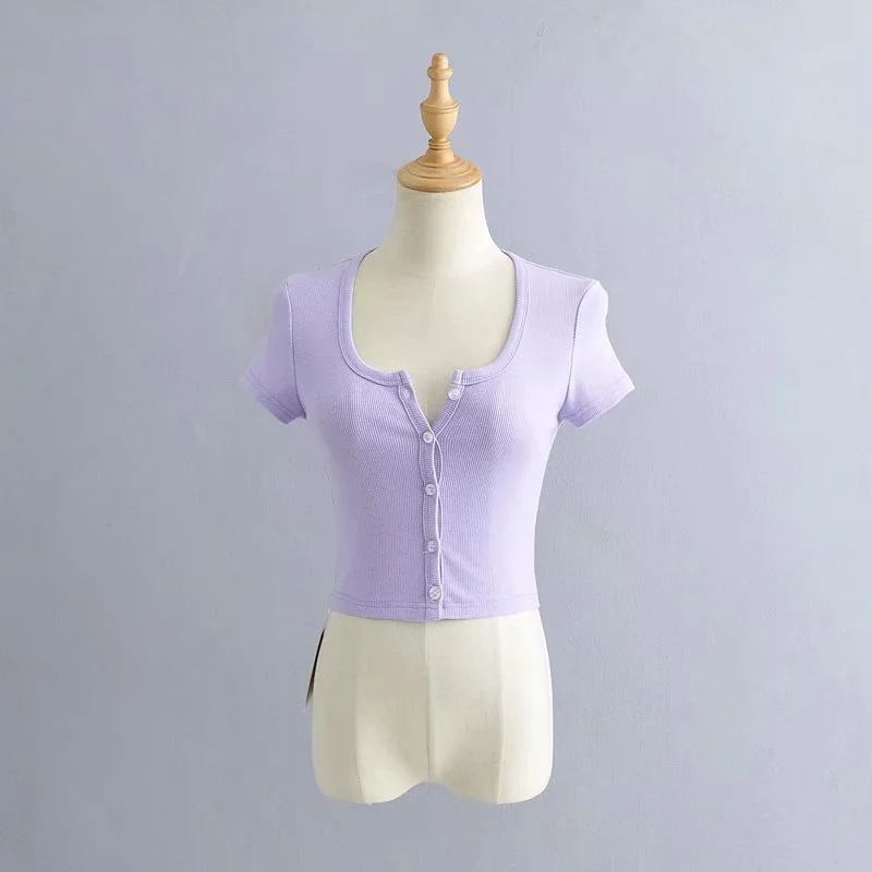 Summer 2020 Ladies Short Round Neck Single-breasted Casual T-shirt    360