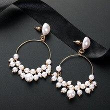 European and American Temperament Wild Long Earrings Pearl Circle Tassel New Women Wholesale