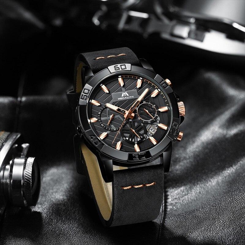 reloj hombre watches MEGALITH sport chronograph waterproof watch men top brand luxury luminous watch men leather horloges mannen