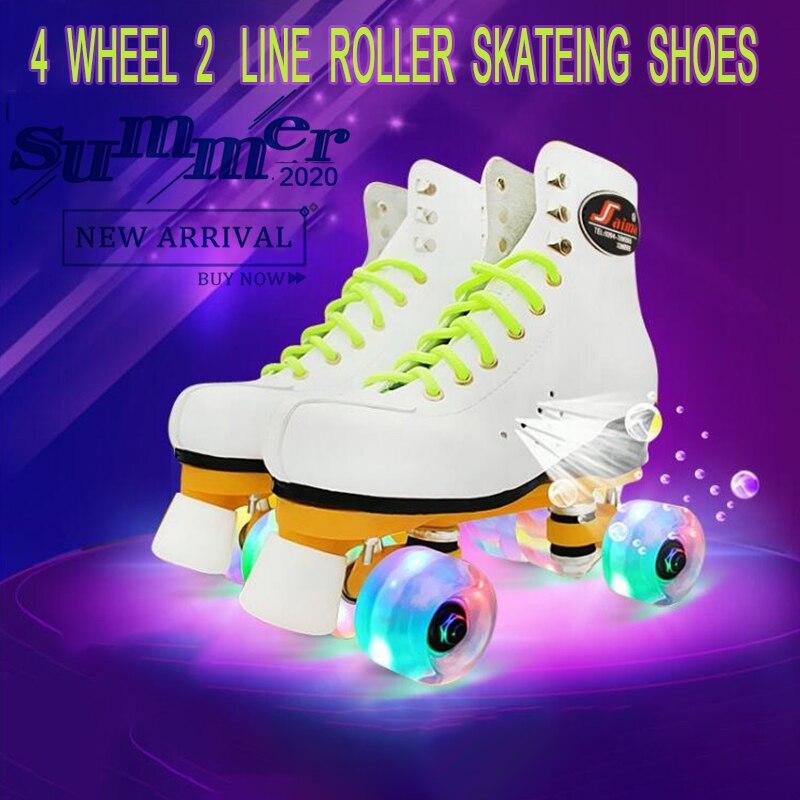 Sapato de Patinação Adulto Dupla Fileira Patins Flash 4 Roller 2 Linha Fantasia Patinação Rinque Polia
