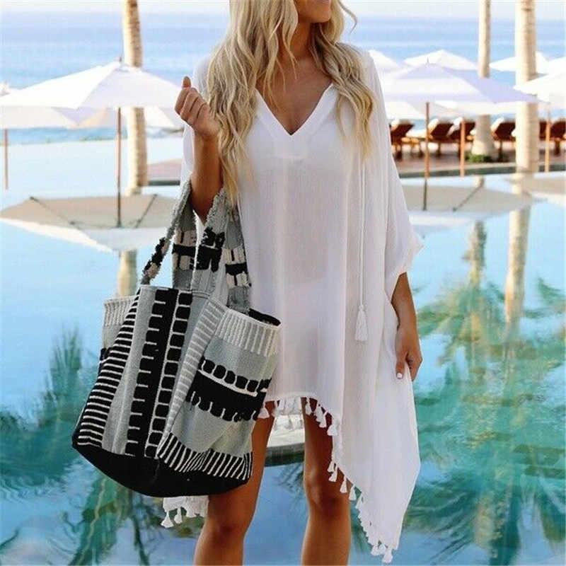 فستان شاطئ شفاف بوهو للسيدات لصيف 2020 ، غطاء للشاطئ ، غطاء للبحر ، أبيض وأسود ، غطاء للشاطئ