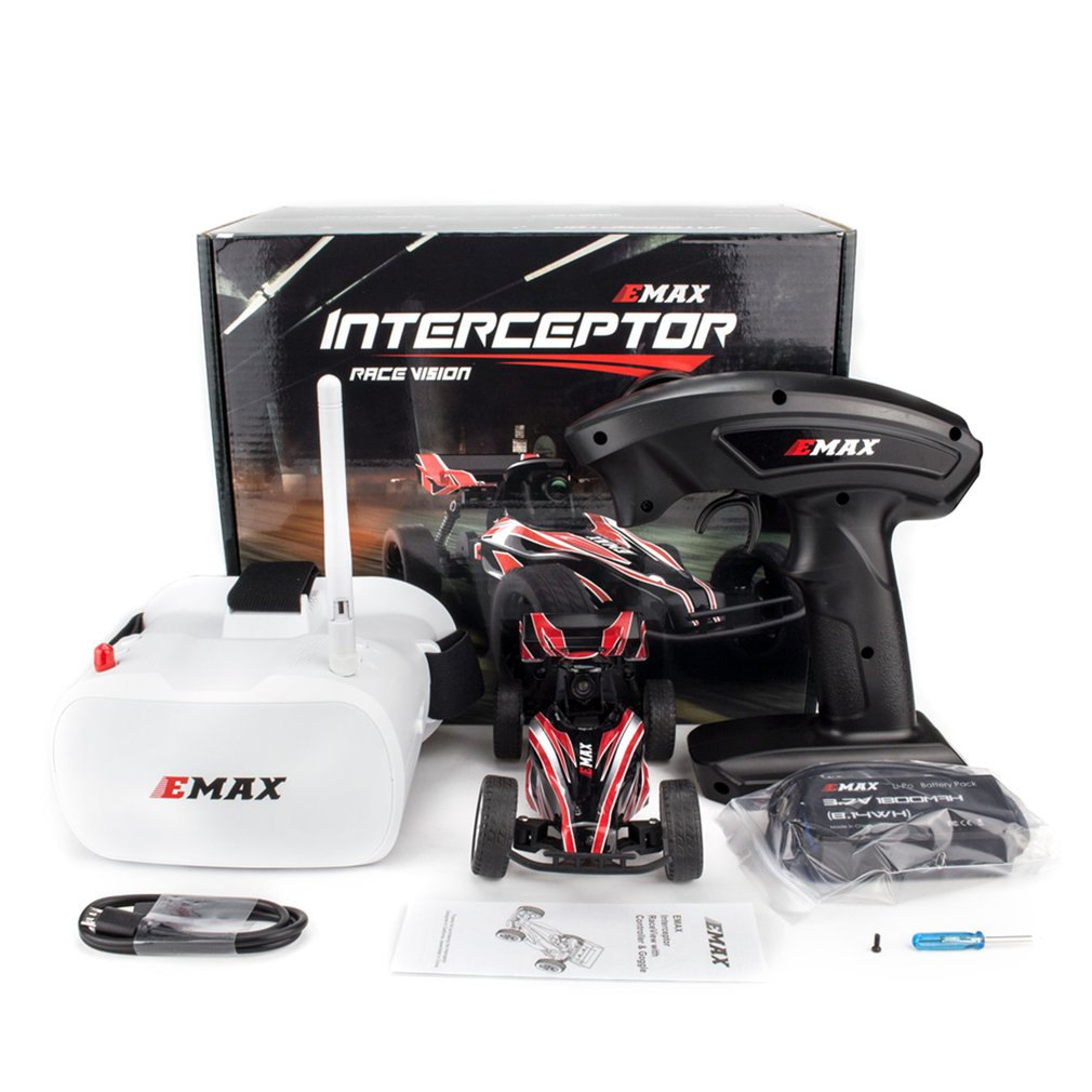EMAX EAT03 2.4G Electric FPV RC Car With Glasses for Interceptor Full Proportional Control BNR/RTR Model Car Remote Controller