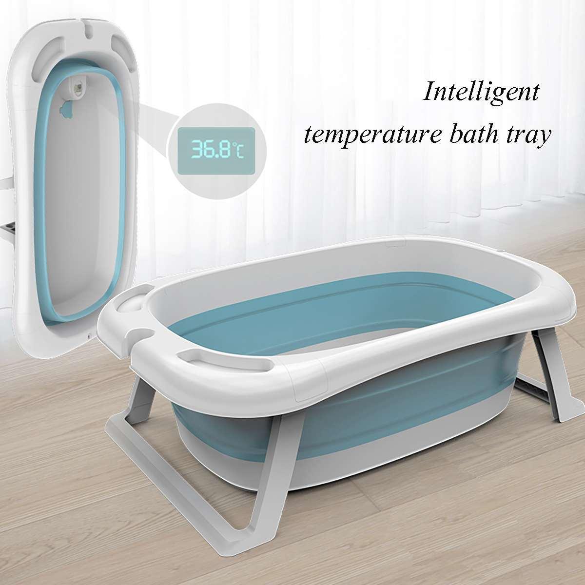 Bañera de ducha para bebé, lavabo plegable portátil, termómetro inteligente, cojín de seguridad, almohadillas de silicona plegables para mascotas, bañeras de baño para perros Bañeras inflables y portátiles  - AliExpress