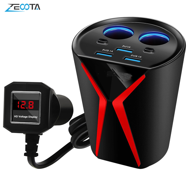 Carregador de carro copo adaptador de energia 3 portas usb 3.1a 2 soquetes cigarro mais leve monitoramento tensão para iphone samsung huawei xiaomi