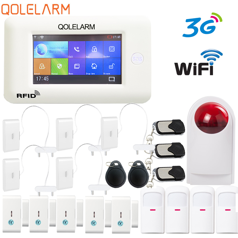 QOLELARM 4.3inch Touch Screen RU ES EN PL DE MENU Wireless Home Security 3G WIFI GSM GPRS Alarm System RFID APP Remote Control
