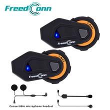 Freedconn intercomunicador para capacete de motocicleta, headset com 6 pilotos, bluetooth, rádio fm