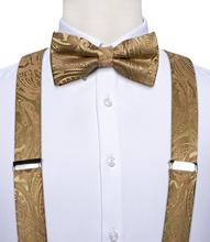 Szelki muszka zestaw mężczyźni kobiety spodnie szelki pasy jedwab elastyczny y-back 6 klipsy szelki wesele męskie szelki DiBanGu tanie tanio SILK Dla dorosłych Paisley Moda DB-4023 125cm Elastic Suspender 3 5cm 1*Suspender+1*Bow Tie+1*Hanky+1 Pair Cufflinks 4 7 x 2 4 inches(12 x 6cm)