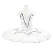 Professional Tutu White Pancake with Silver trims Ballet Tutus Performance white professional ballet tutu for children