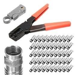 1 zestaw koncentryczny ściągacz do przewodów RG6/RG59 50 sztuk złącze kompresyjne narzędzie szczypce do zaciskania ściąganie przewodów zestaw kombinerek