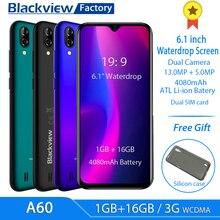 Смартфон Blackview A60 MT6580, ПЗУ 16 Гб, телефон с водонепроницаемым экраном 6,1 дюйма, 4080 мАч, Android 8.1, задняя камера 13 Мп, четырехъядерный процессор