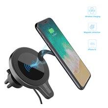 Suporte do telefone do carro universal tomada de ar snap fixo 15w rápida atração magnética carregamento sem fio automático aperto apoio quadro
