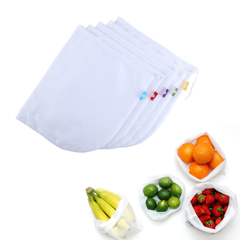 5Pcs Reusable Mesh Produce Supermarket Bags Grocery for Fruit Vegetable Storage Shopping Eco 1